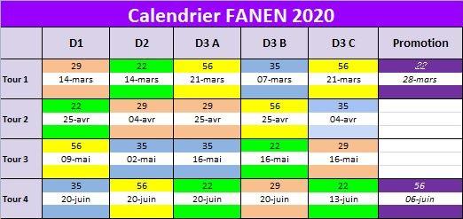 calendrier des compétions de golf Entrprise Bretagne 2020 pour la Fanen.